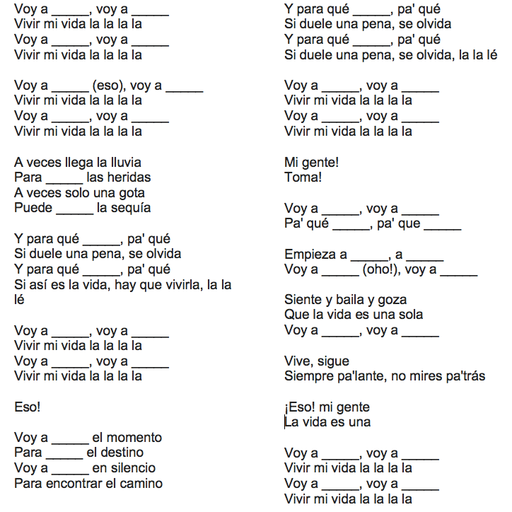 Friday Canción Vivir Mi Vida By Marc Anthony With Bonus Spanish Lesson Over The Andes Spanish Lessons Lesson Spanish