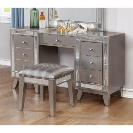 Coaster 2 Piece Mirrored Vanity Set in Metallic Mercury Kristi\u0027s - Bedroom Vanity Table