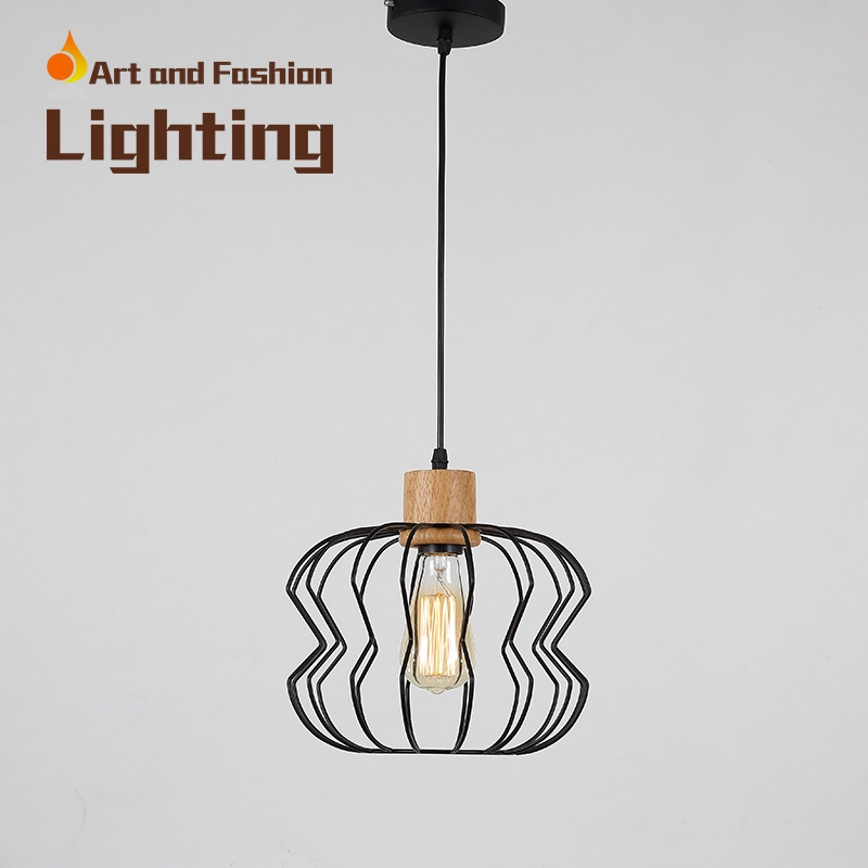 48.99$  Buy here  - Nordic simplicity light American creative lights for restaurant cafe bar Personality single-head iron wood pendant lampCY-DD-240