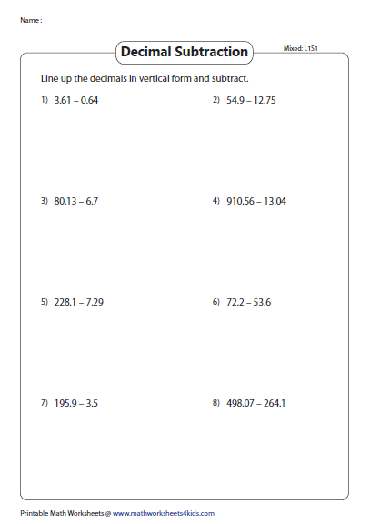 Mixed Review Decimals 10th 100th 1000th Decimals Subtraction Worksheets Subtraction