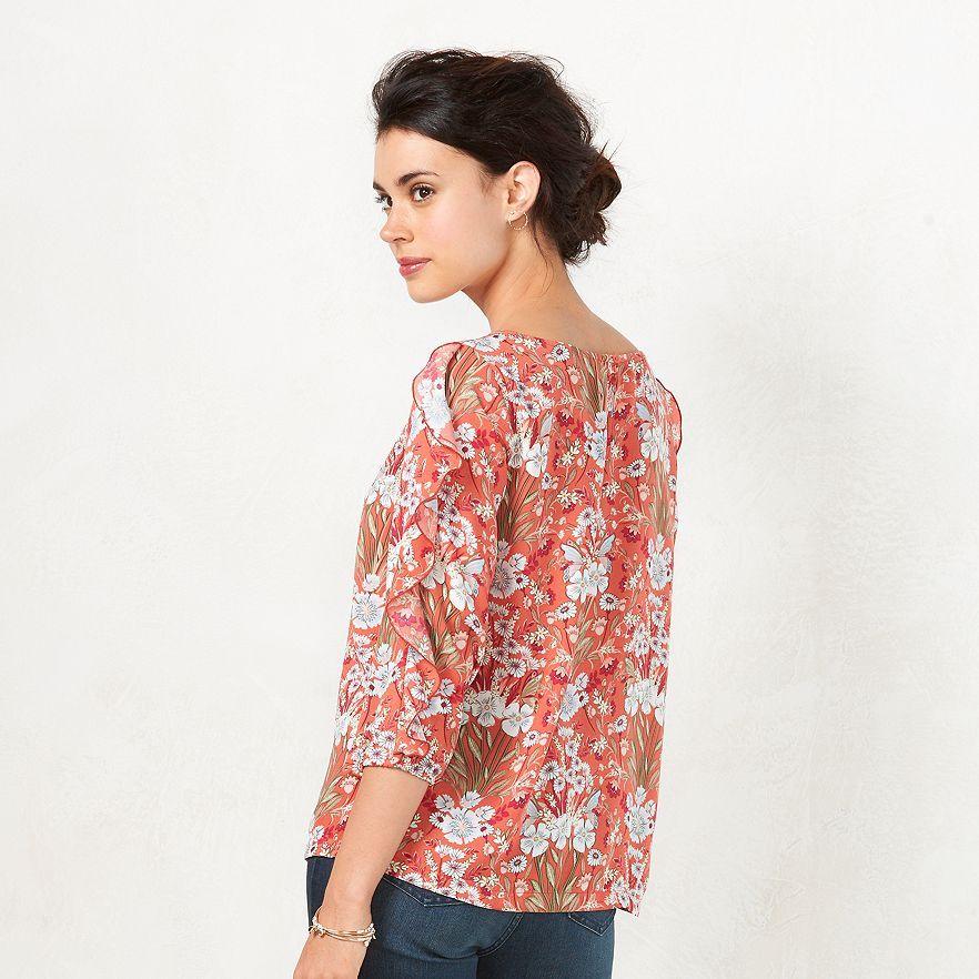 LC Lauren Conrad for Kohl\'s Print Ruffle Top | Clothes | Pinterest