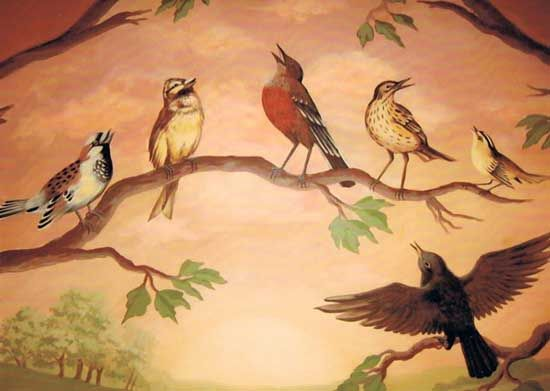 singing birds wall painting ideas and kids rooms murals | Resim ...