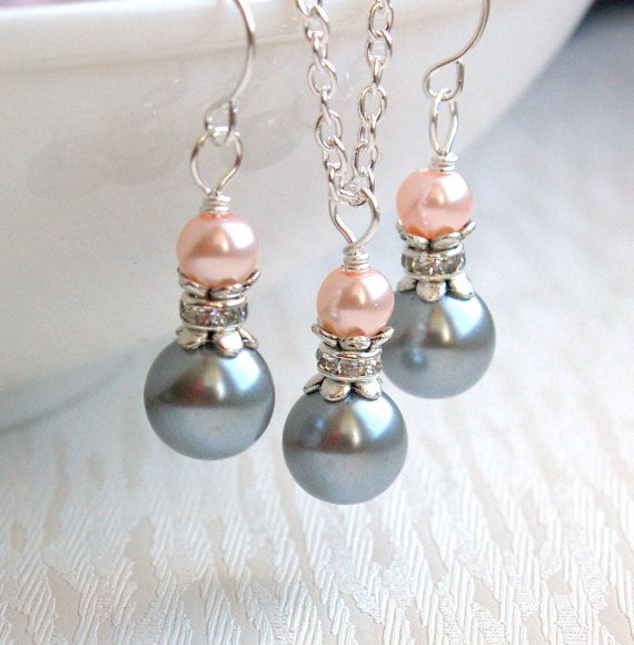 Blush Light Gray Necklace And Earrings Set, Bridesmaid Gift Jewelry, Pink And Gray Pearl Jewelry Set Wedding Party Rhinestone Jewelry