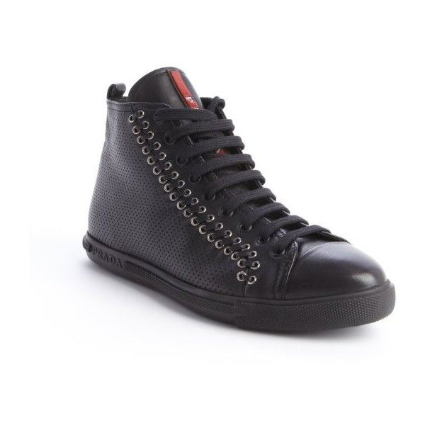 8057d383d017 Prada Black perforated leather multi-eyelet stitched high top sneakers  ( 486) ❤ liked