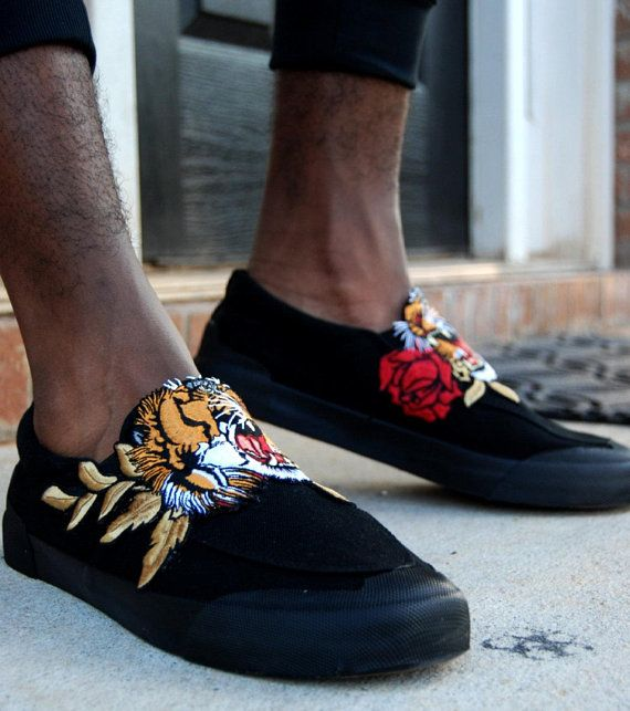 2453950f64 Custom Rose Tiger Black Slip On Canvas Sneakers custom vans ...