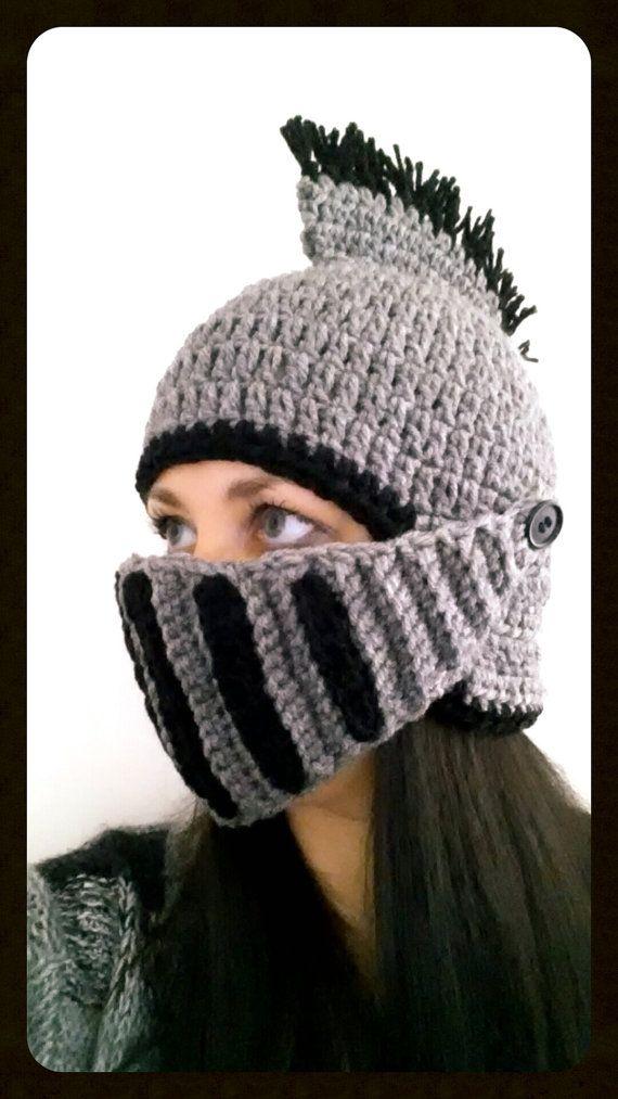 Crochet Knight Helmet Removablepivoting By Funcraftymommastore