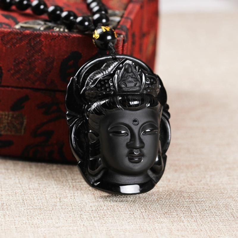 Chinese Natural Obsidian hand-carved Guanyin Lucky Pendant Necklace