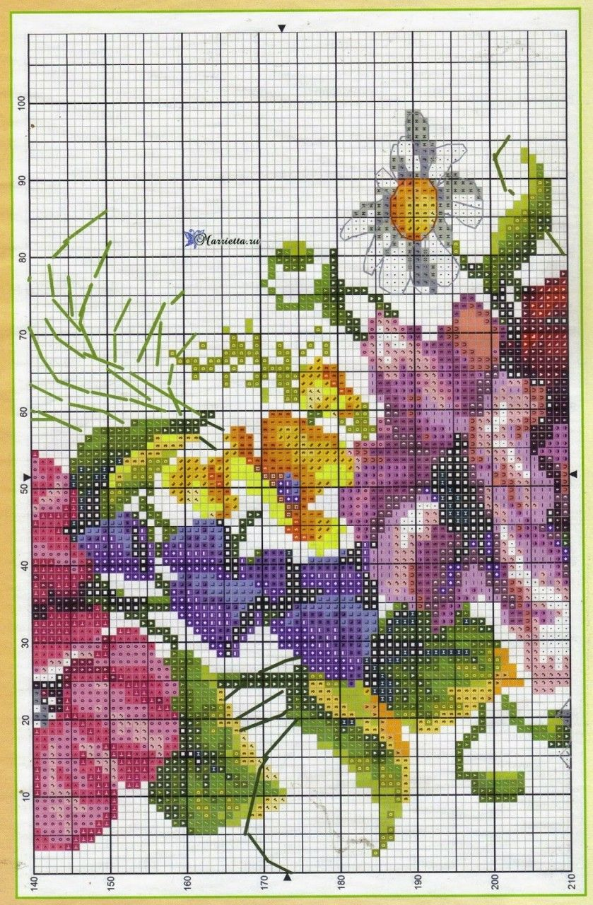 Летний букет цветов с птичкой. Схемы вышивки (5) | Punto ...