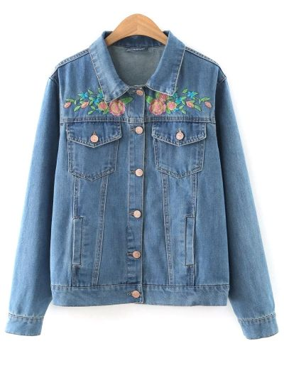 SHARE & Get it FREE | Floral Embroidered Denim Jacket With PocketsFor Fashion Lovers only:80,000+ Items • New Arrivals Daily Join Zaful: Get YOUR $50 NOW!