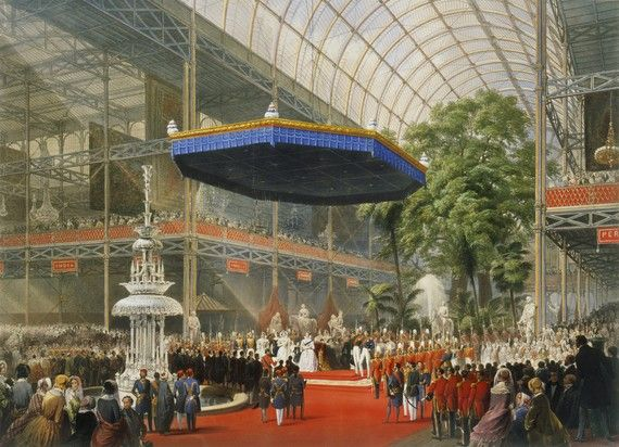 Picture of Queen Victoria opening the Crystal Palace cast iron & plate glass Great Exhibition Building, London - 1851 to 1854 when it was dismantled and rebuilt at a permanent site at Penge, London. It was destroyed by fire in 1936