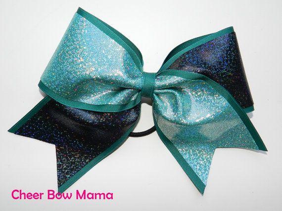 Teal & Black Cheer Bow by Cheer Bow Mama