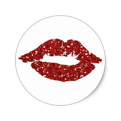 Red Glitter Kiss On Black Background Stickers Zazzle Com