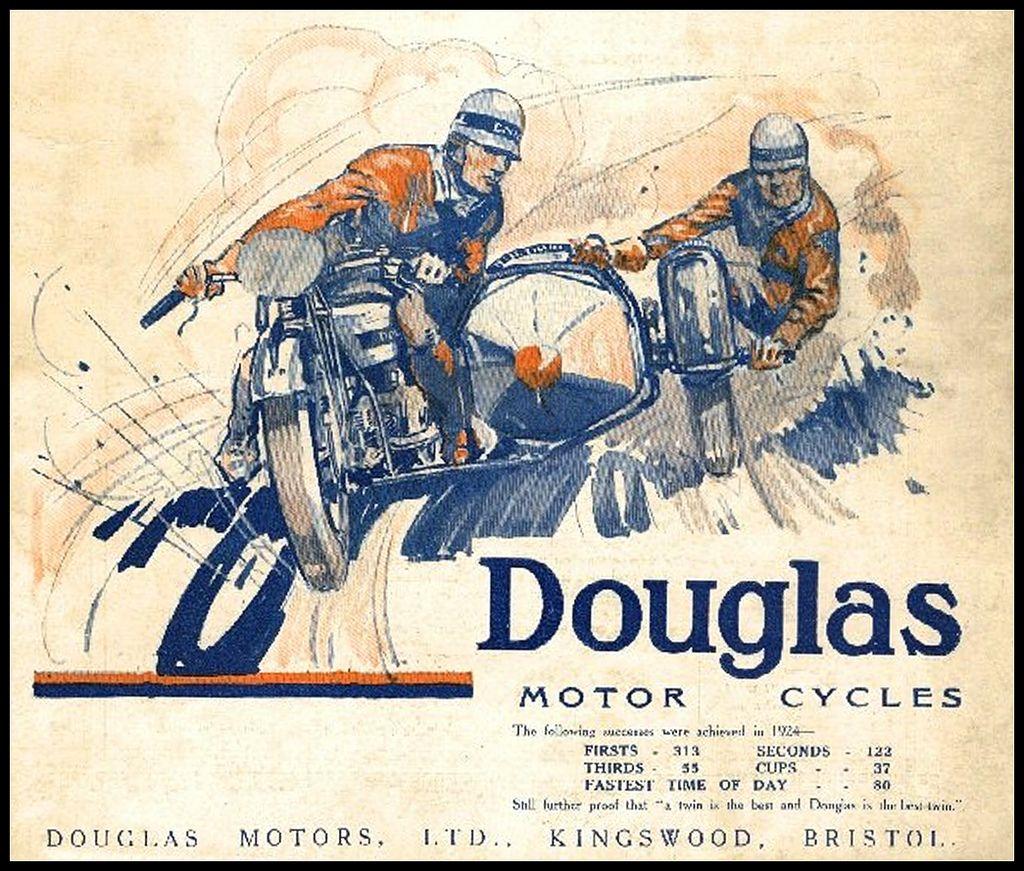 1924 Douglas Motorcycles Motorbike Art Vintage Racing Poster Vintage Motorcycle Posters