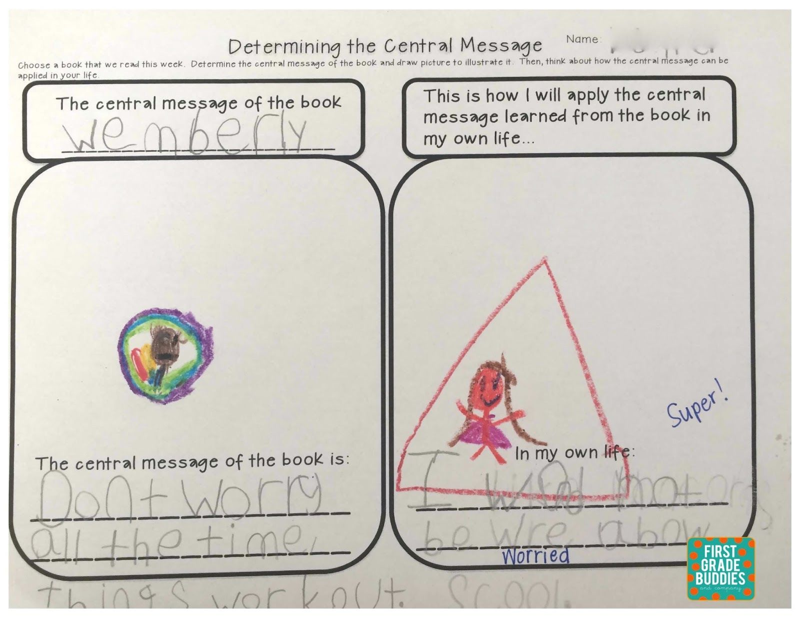 First Grade Bud S Determining The Central Message And