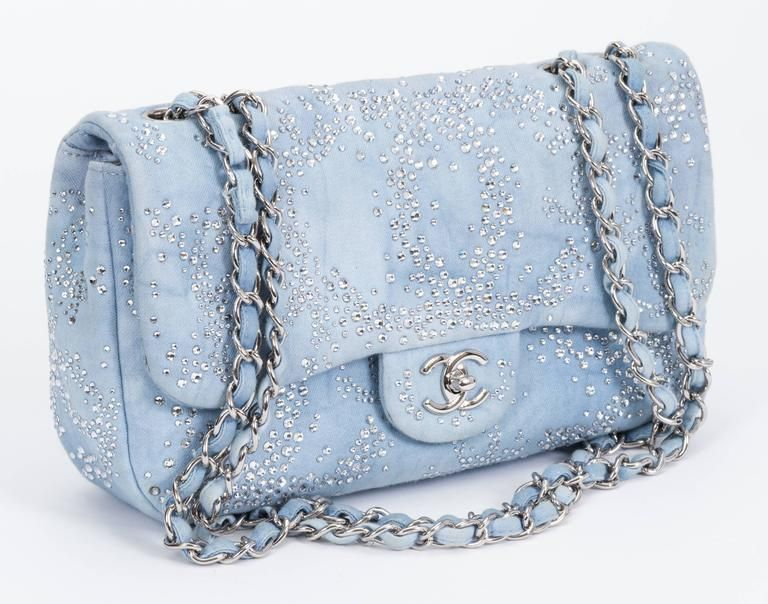 c96c1a9d8fe9 Chanel Rhinestone   Denim Flap Bag 2 Denim Shoulder Bags