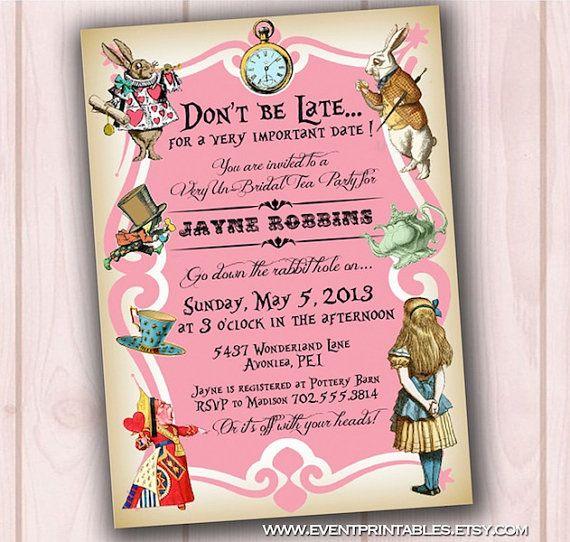 alice in wonderland invitation, bridal shower invite, baby shower,