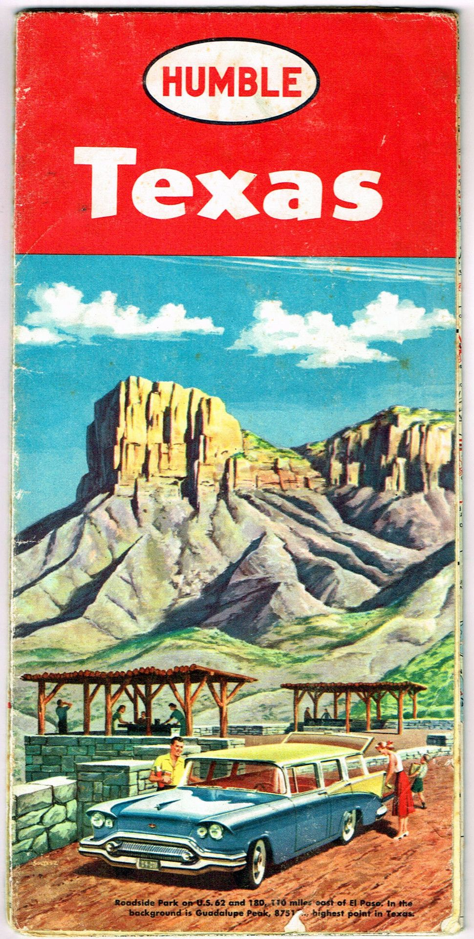 Texas Road Map From Humble Oil  From The Past Pinterest - Road map texas usa