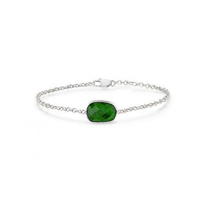 925 Sterling Silver Chain with Simulated Green Emerald Bracelet of 8.50 Carat Total Gem Weight