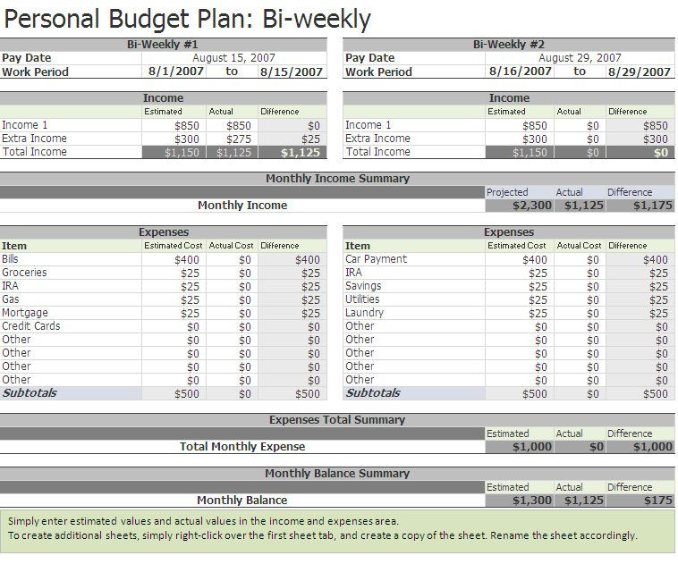 Free biweekly budget excel template a home of my own Build your own home calculator