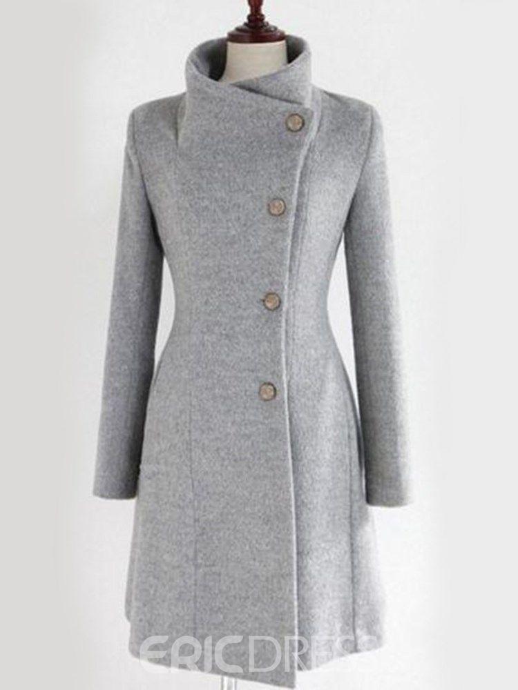 e136ac77a3407 Cinturón liso ericdress abrigo medio de un solo pecho informal ...