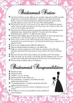 Bridesmaid Duties Checklist Google Search