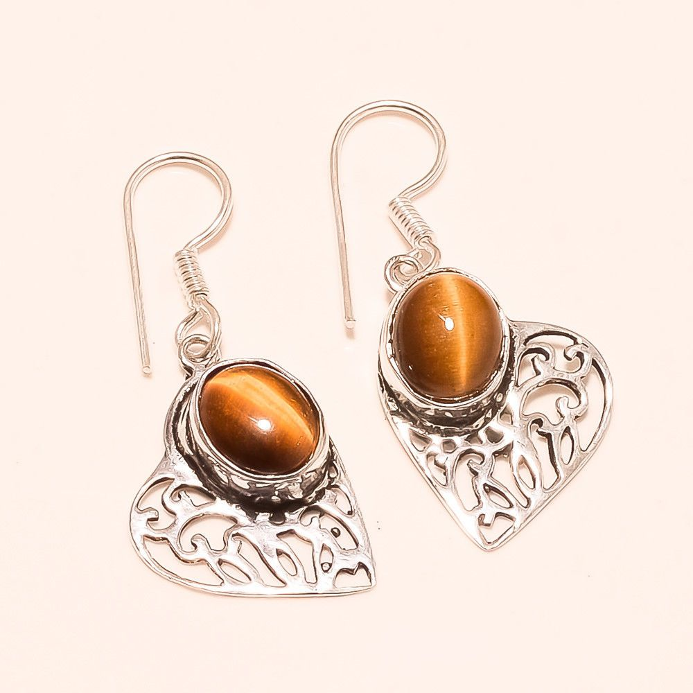 dddfbcaeb Natural Brazilian Tiger Eye Silver Tone Earring Designer New Year Jewelery  Gift #Handmade #Designer #NewYear