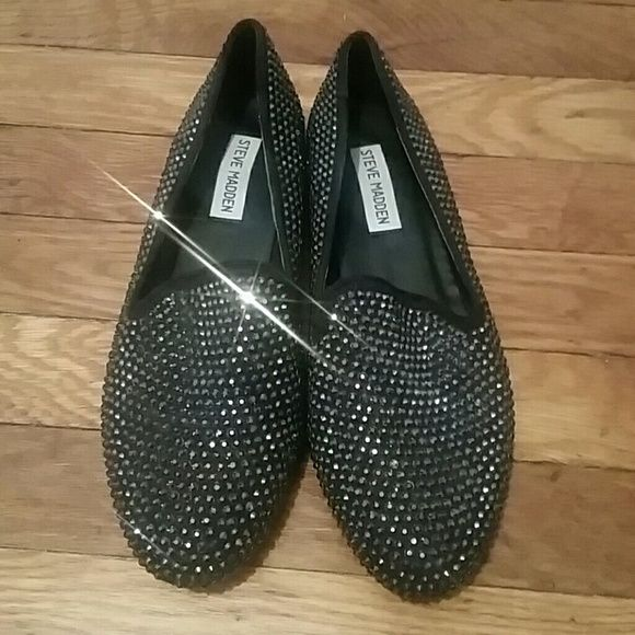 Steve Madden black loafers Steve Madden black jeweled loafers. Perfect condition , worn once! Steve Madden Shoes Flats & Loafers