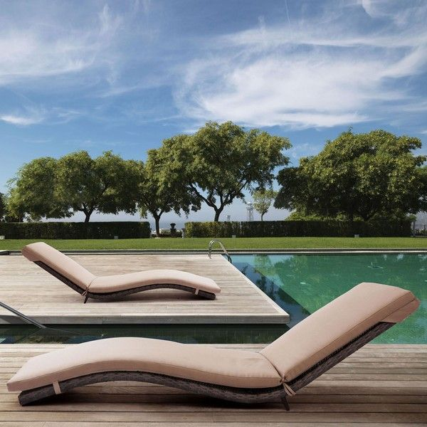 Grandin Road Gemini Outdoor Chaise Lounge Chair Lounge ($529) ❤ Liked On  Polyvore Featuring