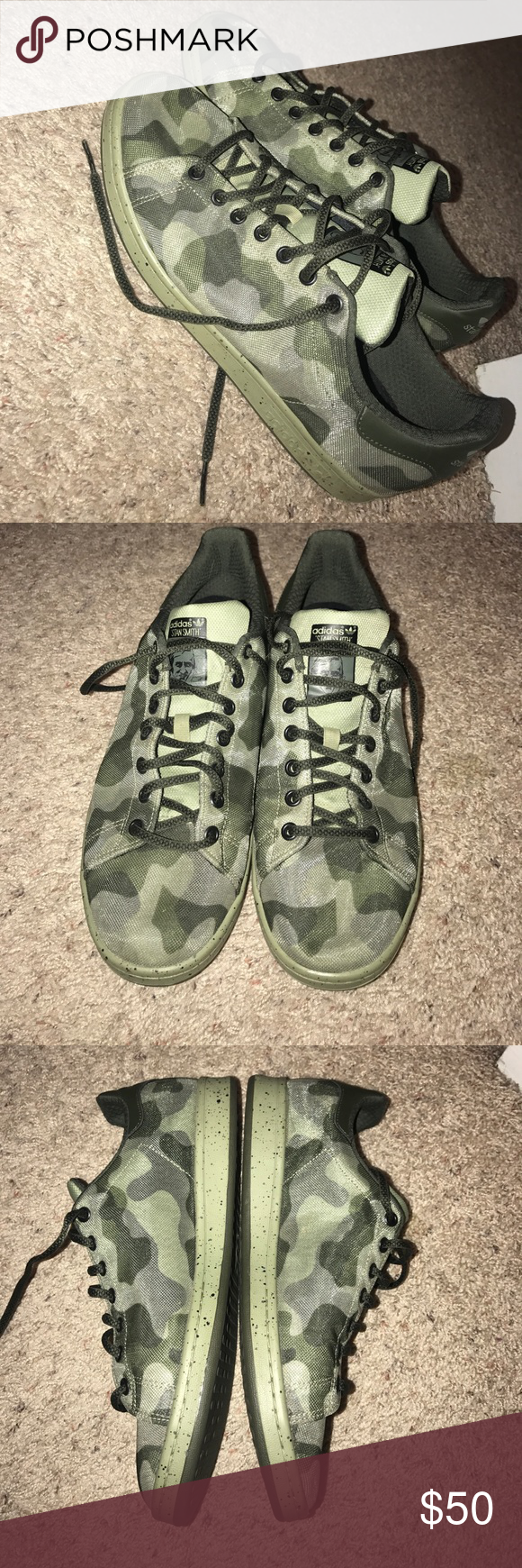 online retailer 4e994 624f6 New. Adidas camo Stan Smith 11.5M New (worn once) Adidas camo Stan Smith.  11.5M. Perfect shoe to dress up or just throw on and go.