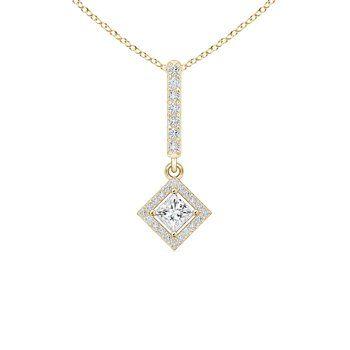 Angara Floating Halo Princess-Cut Diamond Pendant akpgp