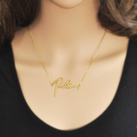 Christmas Gift Handwriting Necklace Signature Necklace Customized Necklace A Good Gift Style 925 Sterli Handwriting Necklace Signature Necklace Custom Necklace