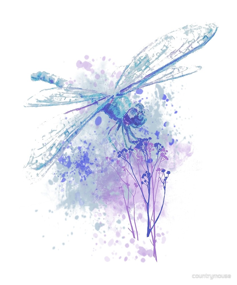 Original Watercolor Dragonfly In Blue Mauve Nature Watercolor Dragonfly Dragonfly Painting Watercolor Dragonfly Tattoo