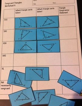 congruent triangles activity: sss, sas, asa, aas, and hl -  teacherspayteachers com