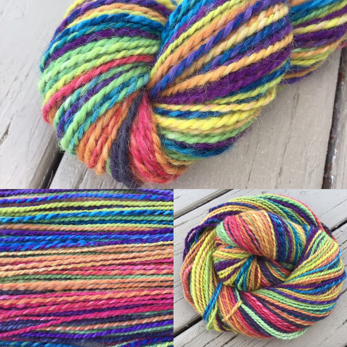We spun this one up from our rainbow brite roving.  Baby alpaca is super soft and has a gorgeous halo when it's worked up!    #thefiberimp #handspunyarn #alpacayarn #rainbowyarn