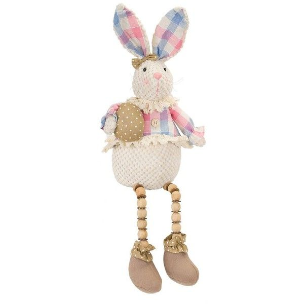 Melrose International Beaded Leg Plaid Easter Bunny Table Decor ($12) ❤  Liked On Polyvore