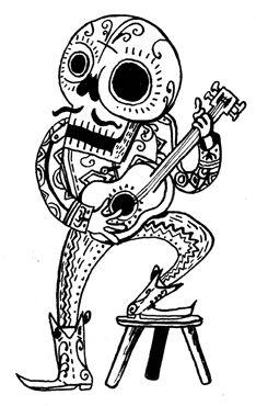 Mariachi Skull Skull Art Sugar Skull Art Skeleton Illustration