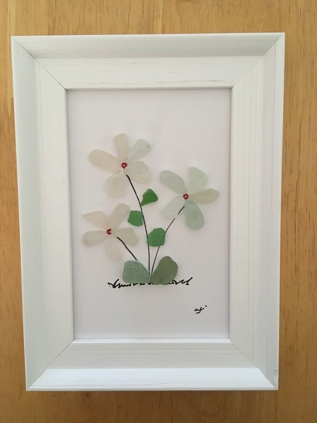Photo of Seaglass flowers framed picture, Scottish floral sea beach glass art
