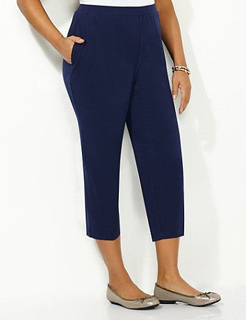 A timeless favorite that's essential to every wardrobe. Our pull-on capri offers a comfortable straight leg fit that pairs perfectly with any of your favorite tops. Side pockets have room for all your necessities. Elastic waist. Catherines pants are specifically designed with the plus size woman in mind.   catherines.com