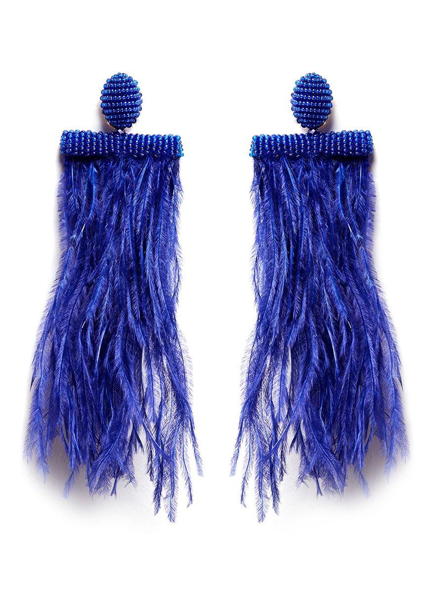 OSCAR DE LA RENTA Feather Tassel Drop Clip Earrings. #oscardelarenta # earrings