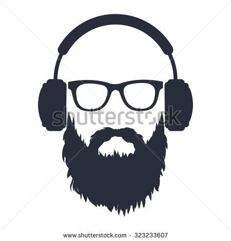 Man With A Beard Wearing Glasses And Headphones With Images Glasses Logo