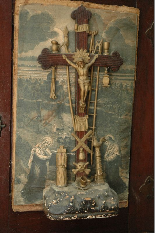 19th Century Crucifix (with Jacobs Ladder, Skull U0026 Crossbones, Monk And  Dice), Tramp Art Frame, INCREDIBLE Undertakers And Embalmers Advertisement  And ...