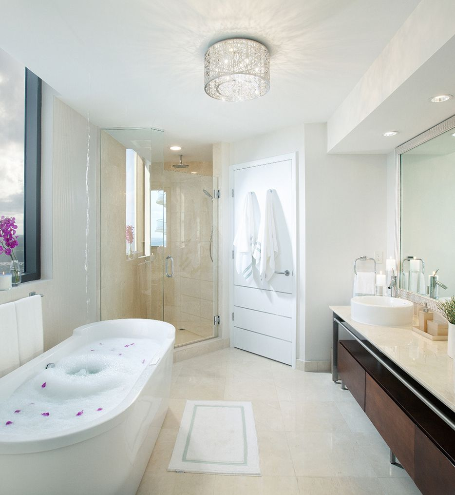 Et2 E21300 10pc Inca 15 75 Flush Mount Bathroom Light Fixtures Ceiling Bathroom Ceiling Light Modern Bathroom Design