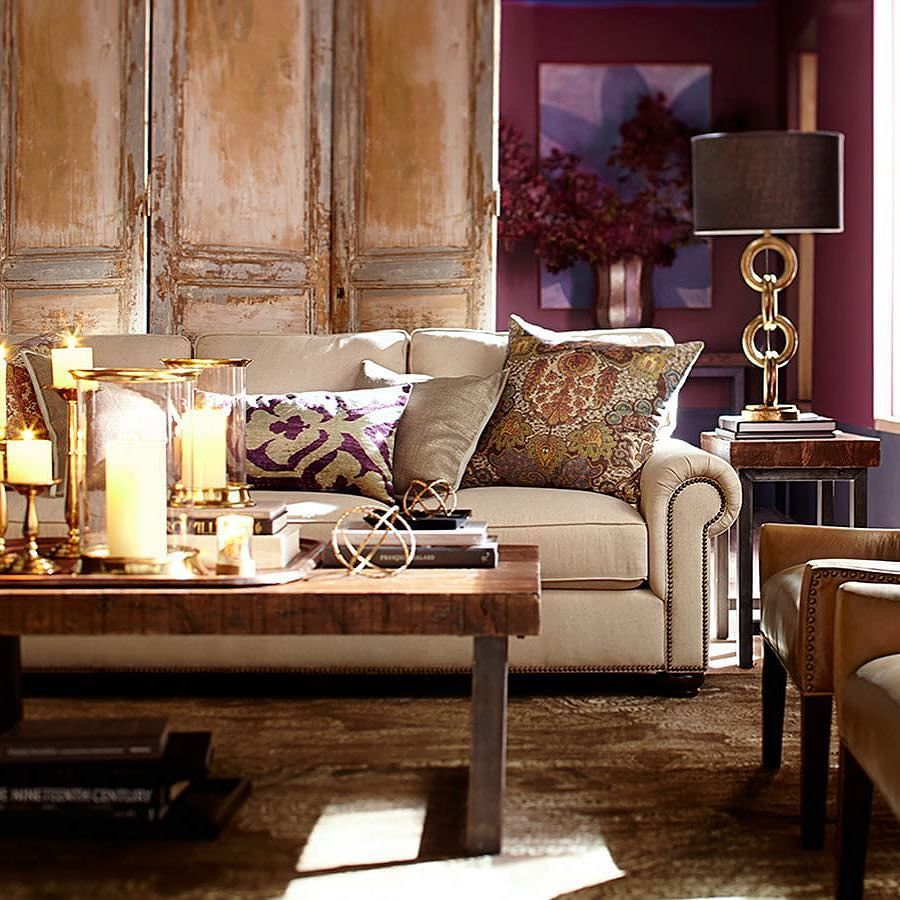 Getting It Right With A Cosy Living Room: Burnished Golds Play With Aubergine And Cognac In This