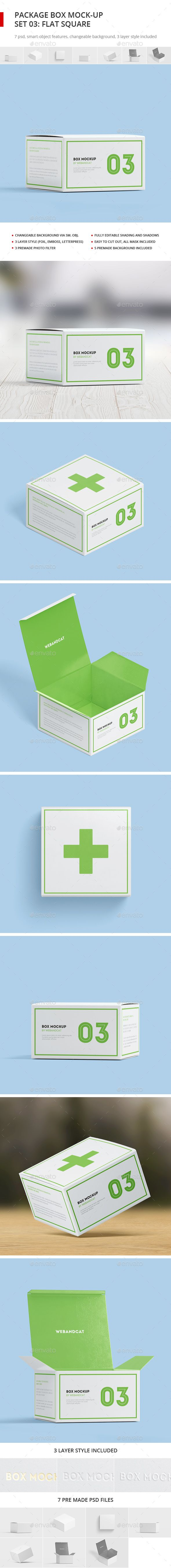 Download Package Box Mock Up Set 3 Flat Square Box Box Mockup Packaging Mockup Mockup Design
