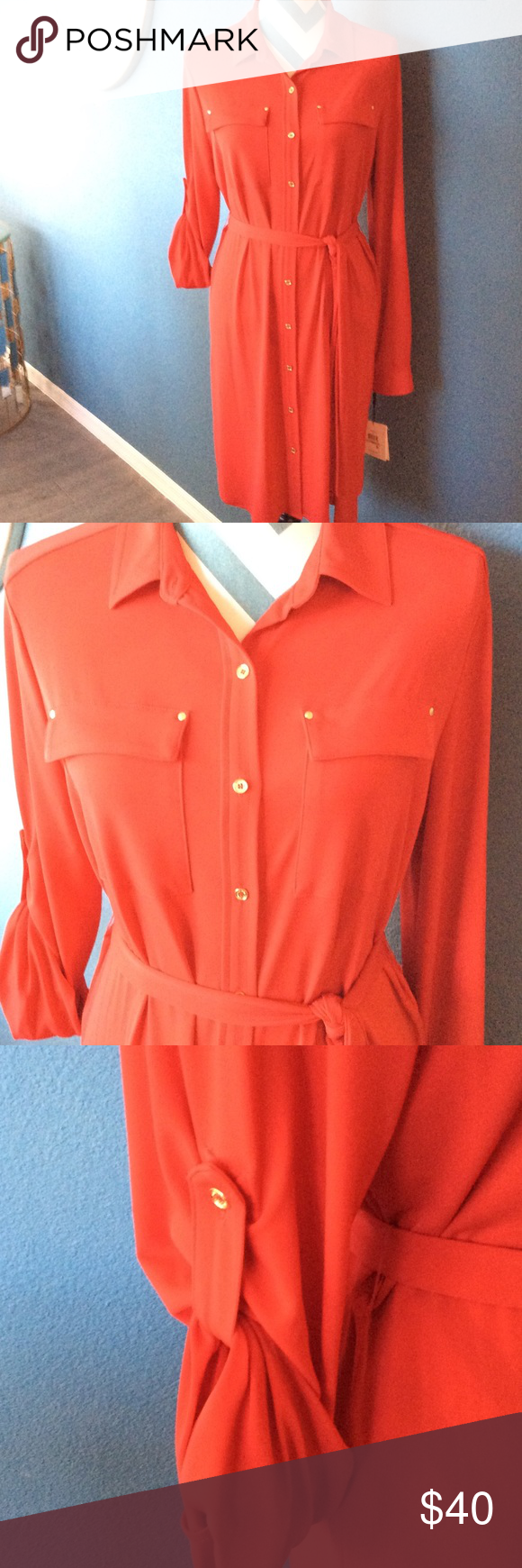Calvin Klein NWT   Red Jersey Shirt Dress Calvin Klein new with tags red jersey shirt dress with gold studs and buttons belt around the waist long sleeves that can be adjusted to three-quarter sleeves a great dress for office and after. Calvin Klein Dresses Long Sleeve