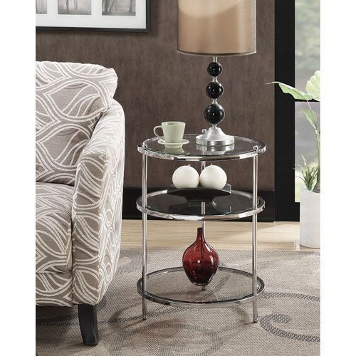Convenience Concepts 134345 Royal Crest 3 Tier Round End Table In Chrome Glass Traditional Bellacor End Tables Table Small End Tables