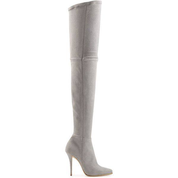 Balmain Suede Thigh-High Boots (€1.985) ❤ liked on Polyvore featuring shoes, boots, balmain boots, over the knee suede boots, gray over the knee boots, thigh boots and suede thigh-high boots