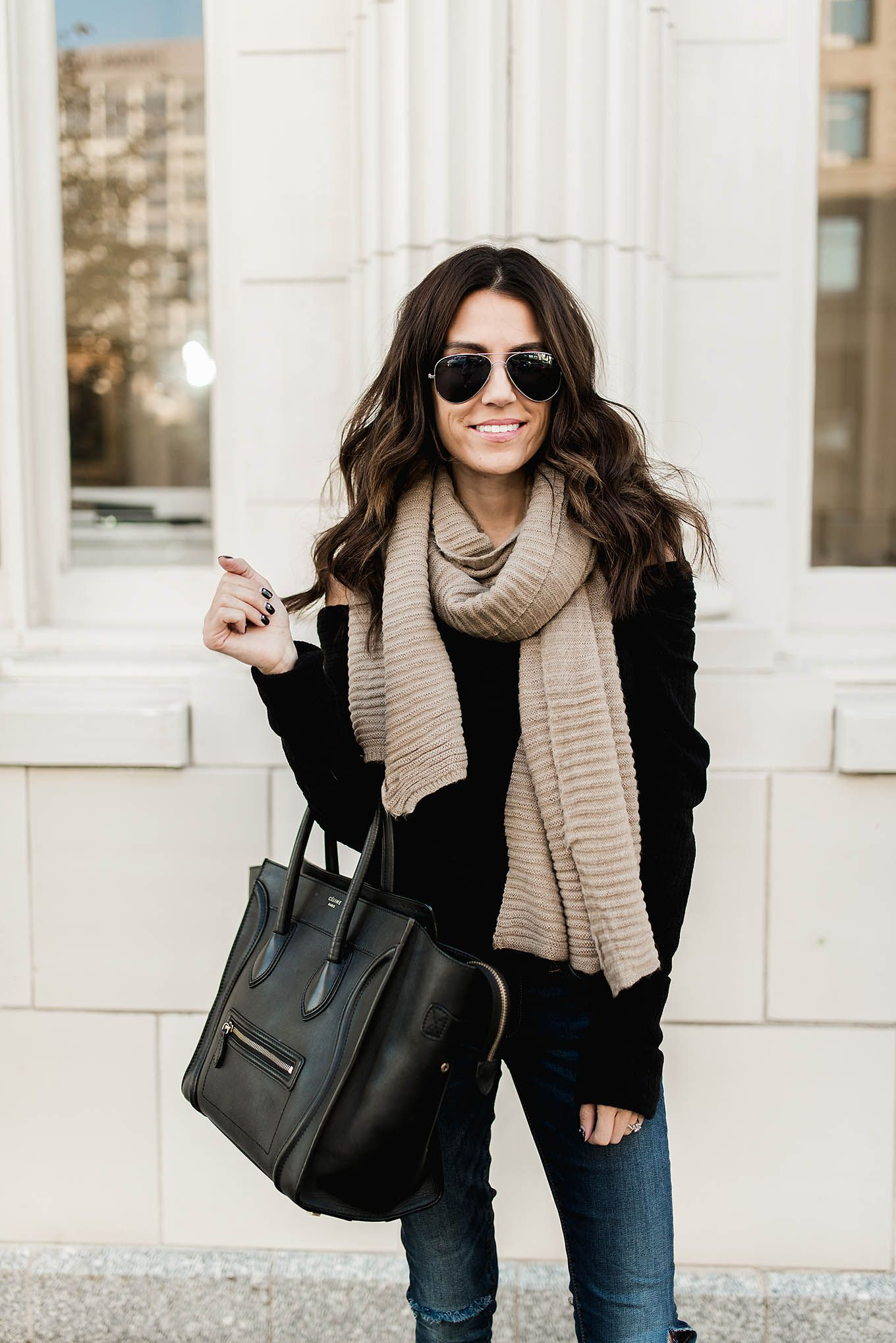 Off the shoulder black sweater & a comfy scarf | Hello Fashion ...