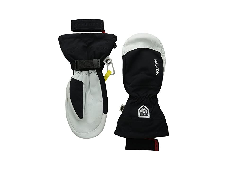 Hestra Army Leather Heli Ski Mitt (Black) Ski Gloves. to learn about Hestra sizing. As Hestra's most well-known glove  the Army Leather Heli Ski Mitt delivers warmth  durability and weather protection. Performance mitten with cuffed silhouette. Outer material made from windproof  waterproof  and breathable HESTRA Triton fabric. Nose wipe at thumb. Rugged palm panel made from goat leather. Pre-curved Eagle Grip is designed to m #Hestra #Accessories #Gloves #Ski #Black