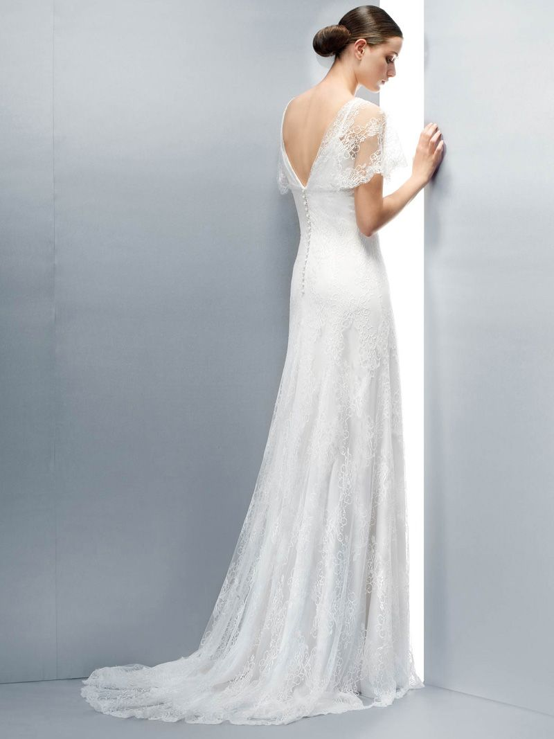 Wedding Dresses Pictures - A-Line V-Neck Cap Sleeve Non-Strapless ...